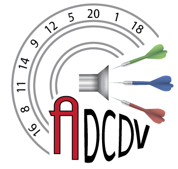 New Audio Dart Club of Deleware Valley Logo. Designed by Tabitha Mulhern. Image is of an audio speaker with three darts coming out of speaker to represent the sound coming from the speaker. A Dart board and numbers in the background. And ADCDV underneath.